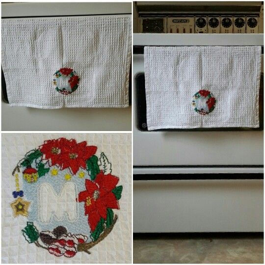 """Monogrammed waffle weave cotton tea towel for Christmas.  The perfect """"Kitchenista"""" gift"""