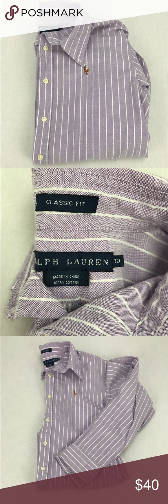 Ralph Lauren Oxford Button Down Shirt - Purple Ralph Lauren Women's Oxford Button Down Shirt in Purple Stripe. Size 10. Classic fit. Excellent condition. Open to offers and bundles! Please use the offer button. Let me know if you have any questions! Ralph Lauren Tops Button Down Shirts