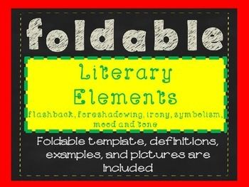Free foldable of literary elements including flashback, foreshadowing, irony, symbolism, tone, and mood.
