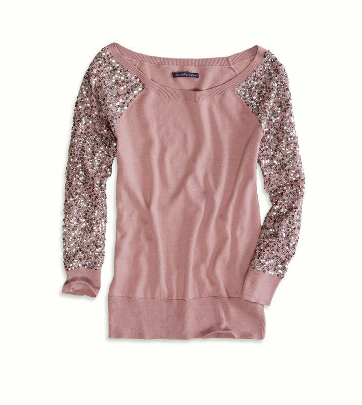 Sequin embellished mesh sleeve sweater