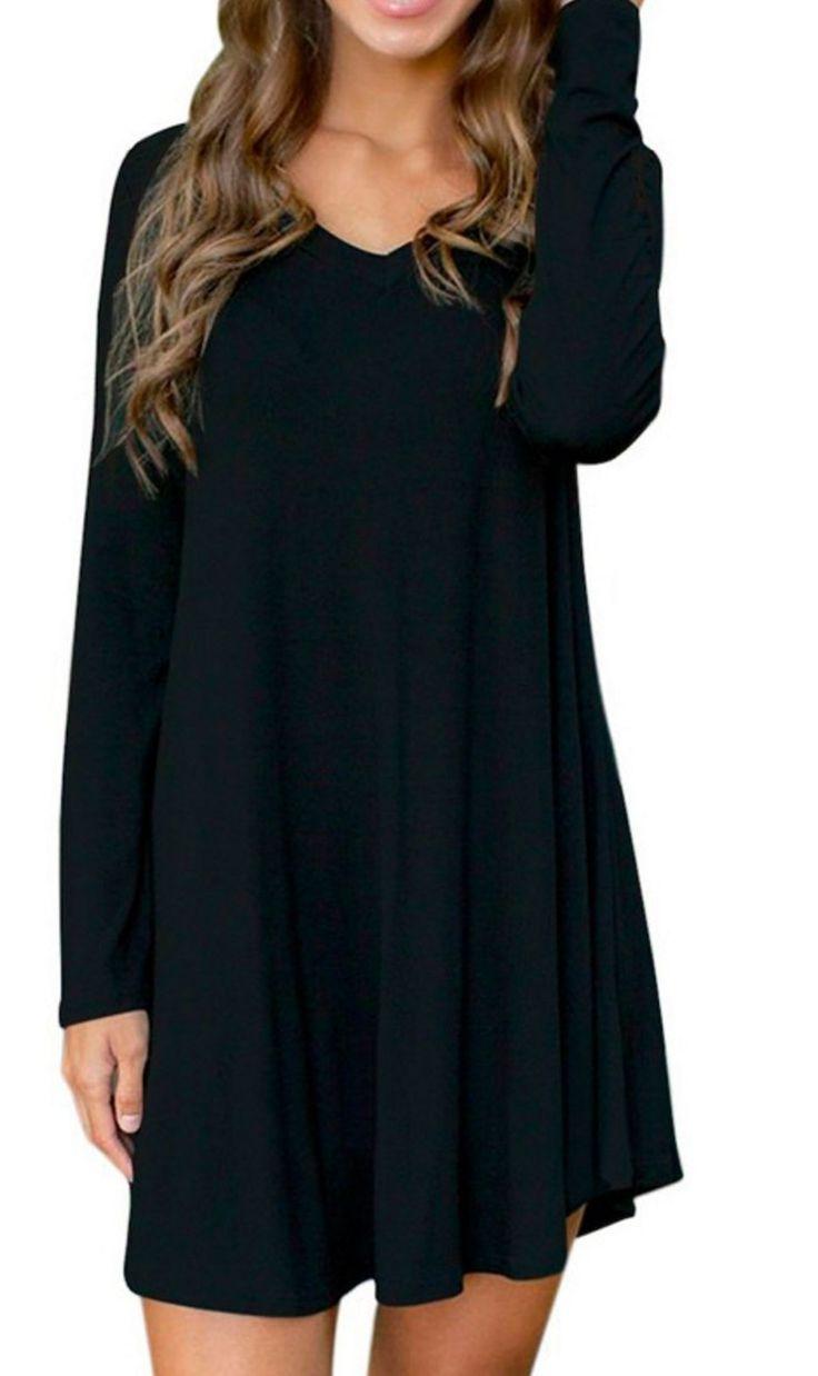 Women Fashion Casual Loose Fleece V Neck Long Sleeve Stretch Solid A-Line Short Dress Enjoy a black plain dress for every occasion! s(0-4) M(4-6) L(6-8) XL(10-12)