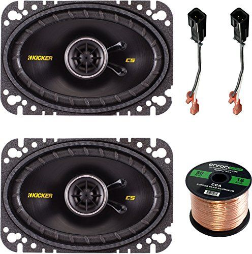 Speaker System Set Bundle With 2 Kicker 40CS464 4x6 150 Watt Car Audio Speaker  Metra 726512 2Pin Speaker Connector For Jeep  Chrysler Vehicles  Enrock 50ft 16g Speaker Wire ** Visit the image link more details.