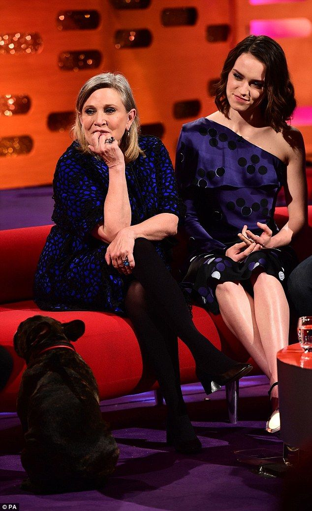 Foxy lady: Carrie Fisher, 59, gave TV host Graham Norton more than he bargained for when she revealed her naughty side during filming for Friday night's The Graham Norton Show