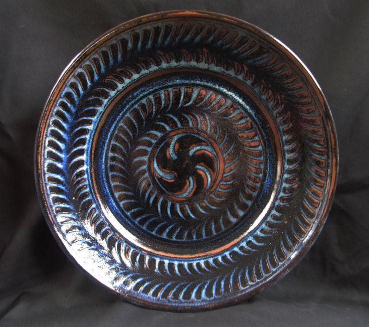 Large sgraffitto jun glazed ferny plate