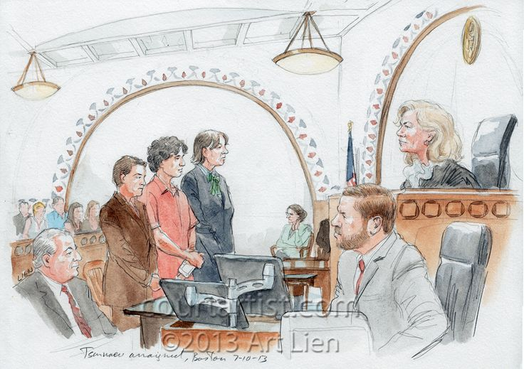 "The courtroom sketch demonstrating the hearing of Boston Marathon bombing suspect: The journalists were allowed in the courtroom early and so the author had time to work on background, which helped since the arraignment proper lasted less than ten minutes.To each count Tsarnaev responded, ""not guilty""."