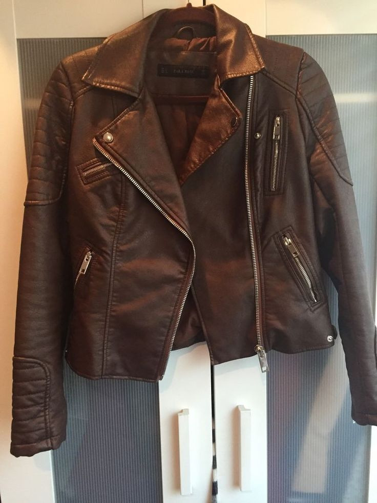 EUC Zara Brown Genuine Leather Moto Motorcycle Jacket - Small - Retail $259 #ZARA #Motorcycle