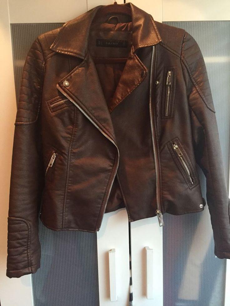 EUC Zara Brown Genuine Leather Moto Motorcycle Jacket - Small - Retail $259 #ZARA #Motorcycle