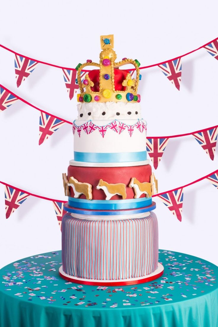 Show stopping 4 tier cake by Juliet Sear for the Queen's Birthday using Dr. Oetker icings