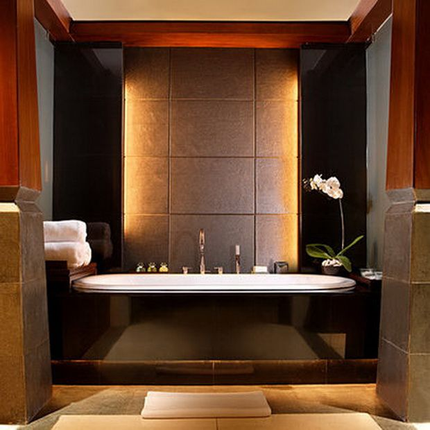Ultra Modern Luxury Bathrooms, spa like master bath, love the lighted wall behind the Tub.
