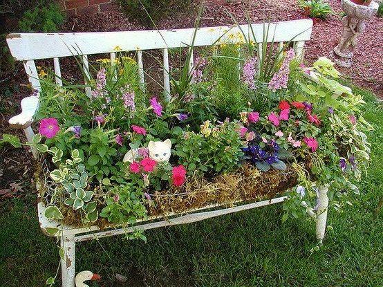 25 best ideas about chair planter on pinterest garden for Flower bench ideas