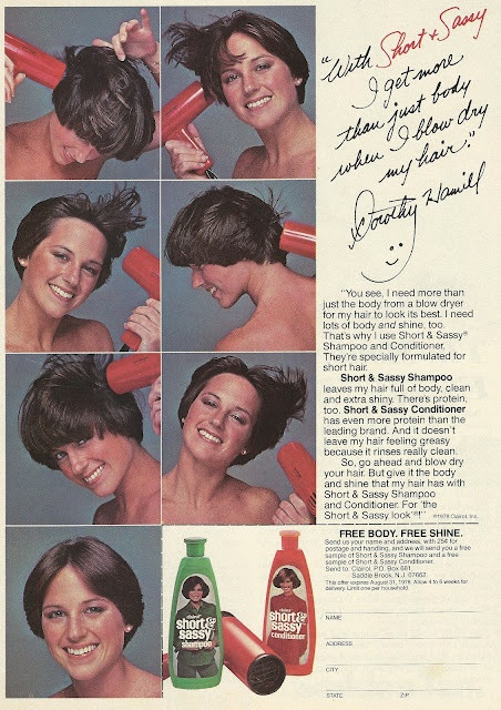 "1978 ad: Short  Sassy Shampoo and Conditioner. You couldn't have ""a wedge"" and not use this stuff...too funny."