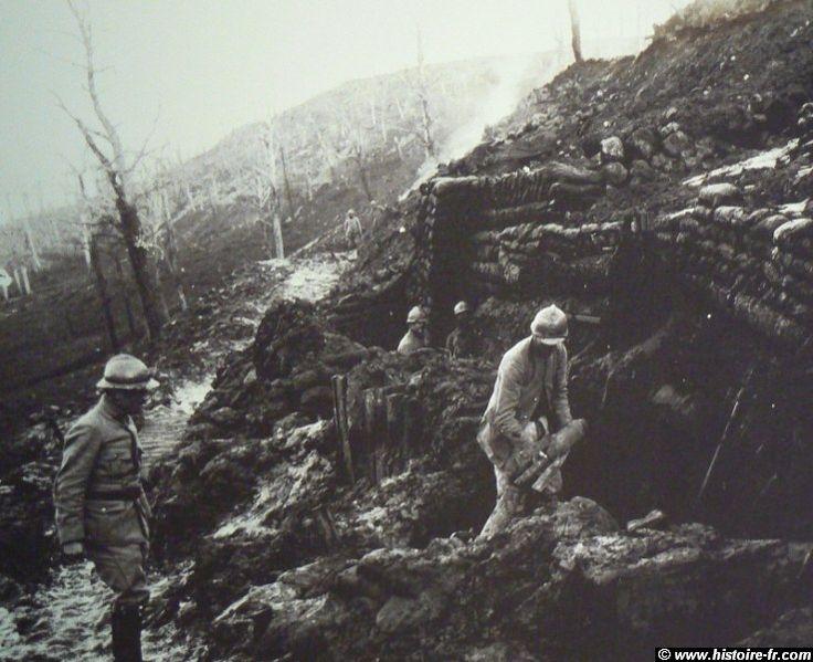 "WW1, Verdun, ""Ravin de la Mort"" (Ravine of Death), loading a mortar, Dec 1915…"