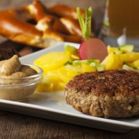beer pretzeled burgers