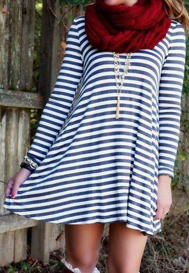 Stripe Print Backless Stylish Scoop Neck Long Sleeve Dress For Women
