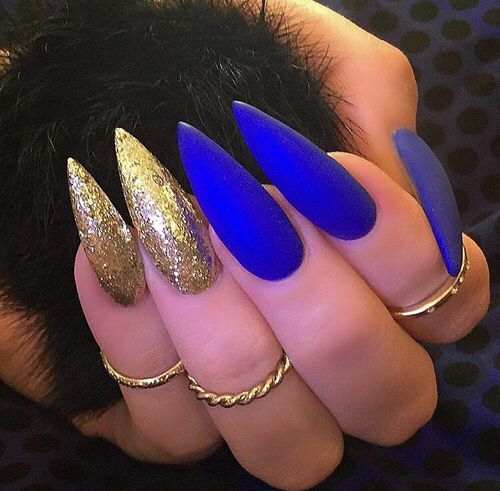 Matte cobalt blue and gold glitter stiletto nails ❤️