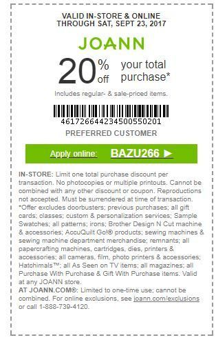 Joann Coupon 20 Off Your Entire Purchase Coupons