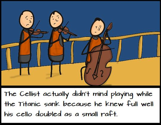 Huh... I'm so glad I'm a cellist. If I'm ever aboard a ship Jane's coming with!