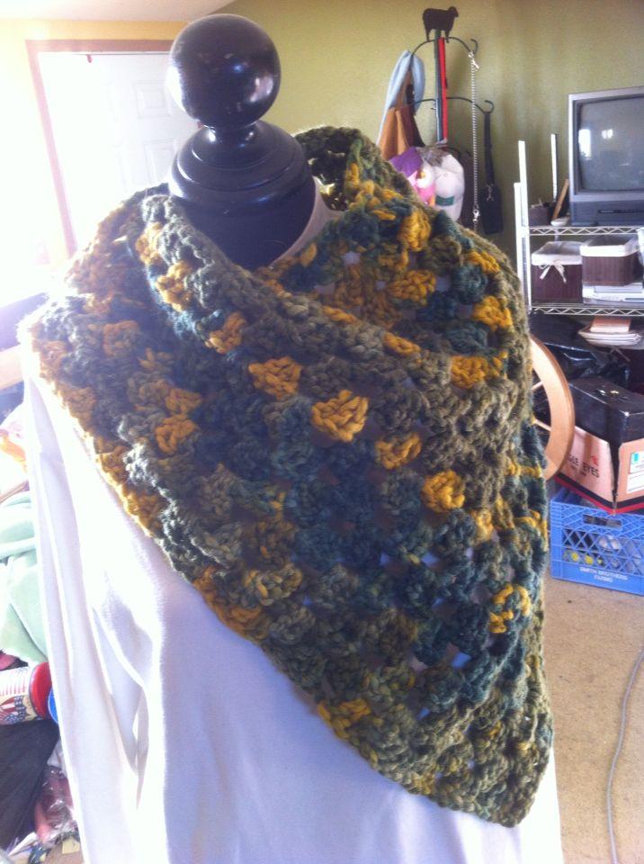 Triangle homespun acrylic shawl