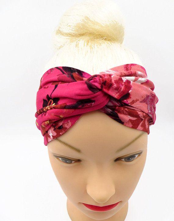 f0fac703d93d Floral pink turband headband Twisted center turban Twisted Headband  boho Gipsy head accessory Jersey head wrap yogi Bohemian Headband flower