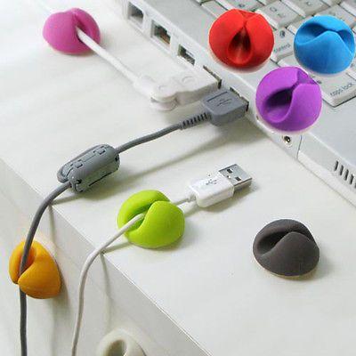 Bunte Cable Drop Fixierung Organizer USB Kabel Halter für Tisch Kabelmanager   eBay