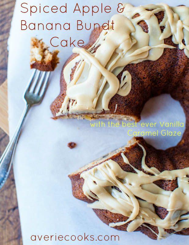 Spiced Apple & Banana Bundt Cake with Vanilla Caramel Glaze. Moist, easy to make, & the glaze is my #1 fave frosting/glaze of all time: Bundt Cakes, Vanilla Caramel, Caramel Glaze, Bananas, Spiced Apple, Apples, Banana Bundt