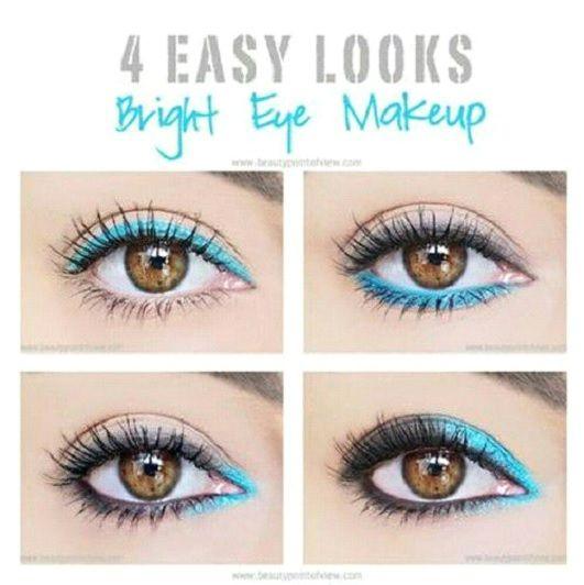 4 pasos a azul brillante de los ojos de maquillaje Look | manía de maquillaje