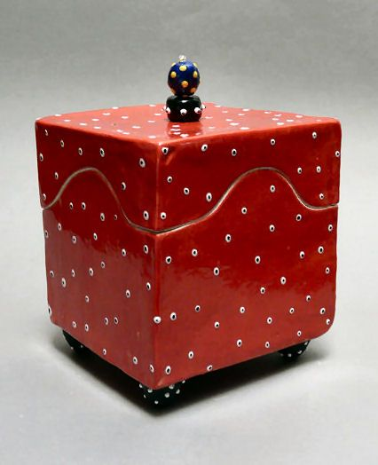 One Blue Marble Ceramic Puzzle Box - Large Red Square Box