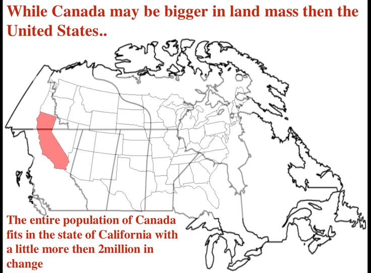 REVISED Week 2: The entire population of Canada, fits into the Single state of California. However the State of California has nearly 3 million more people then the entire country of Canada. You'd think with Canada being bigger then the United States it would be the other way around. The density of the United States is highly impressive. Fun fact: California is my home state!