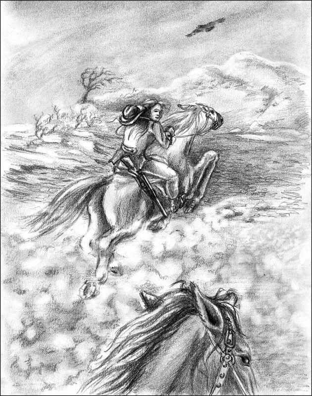 Она идет к загону и быстро седлает чалого коня. Вскоре вы скачете на юго-восток. Женщина молчит, лишь гонит чалого так, что Чикита еле поспевает за ним.  Путь пересекает русло пересохшей реки, берега которой густо усеяны большими валунами и скалами. Ваша спутница прекрасно ориентируется в этом скоплении громадных камней. Резко осадив коня, она говорит: «Впереди — лагерь Стервятника Джо. Желаю удачи!» И, повернув чалого, исчезает меж скал.