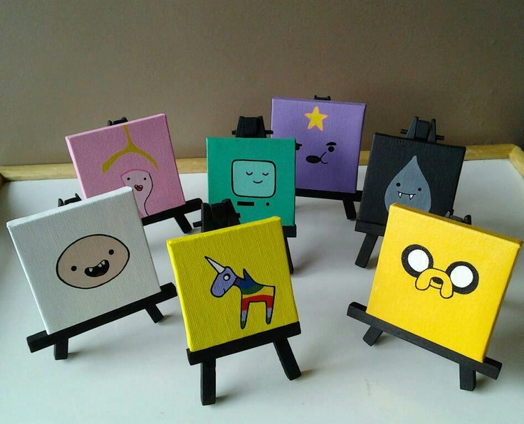 Adventure Time Mini Canvases with Easel. $10.00, via Etsy.  i  have two mini canvases and no idea what to do with them.