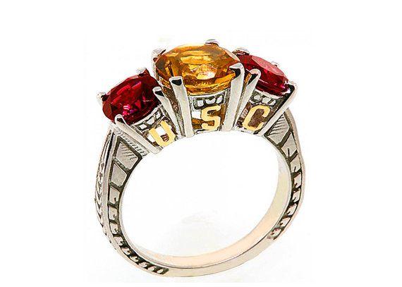 USC Ring Trojan 14kt Gold USC letters on Sterling Silver Garnets Citrine