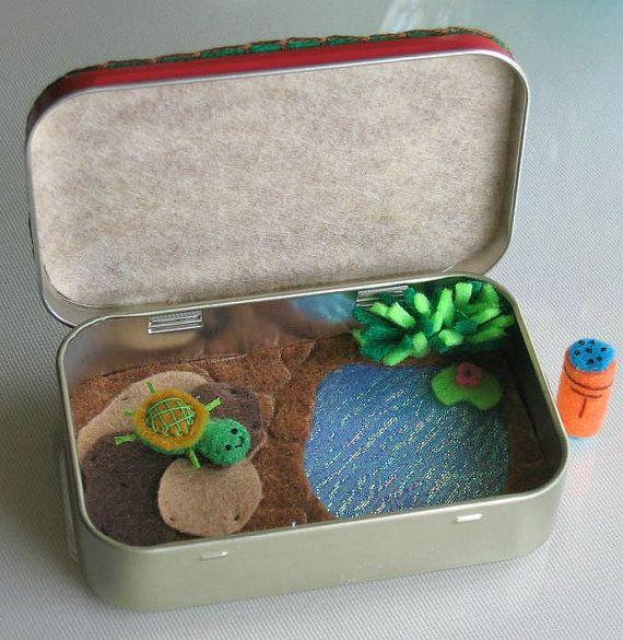 Turtle playset in Altoid tin miniature plush felt by wishwithme, $24.00