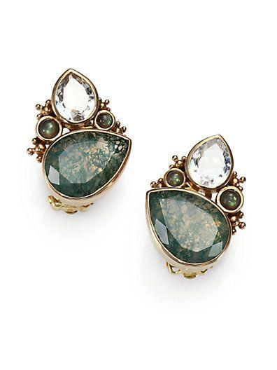 Stephen Dweck Cluster Pearl & Stone Silver Earrings, Blue