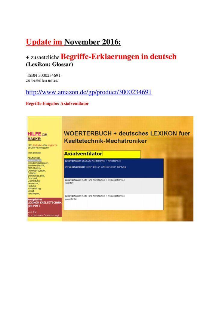 Leseprobe: deutsch-englisch Woerterbuch-Wortschatz Kaeltetechnik + Grundlagen-Lexikon/ Einfuehrungs-Glossar