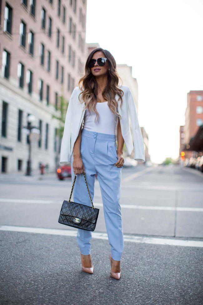 Shopping Guide: Spring Work Outfit. - Mia Mia Mine. Topshop Blazer, Asos Bodysuit, Asos Blue Pants, Christian Louboutin Heels, Chanel Bag