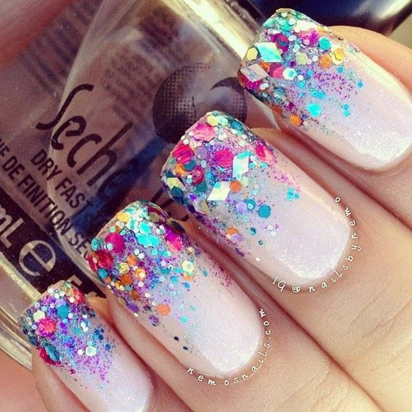 Neon Glitter Tipped French Nails.                                                                                                                                                                                 More