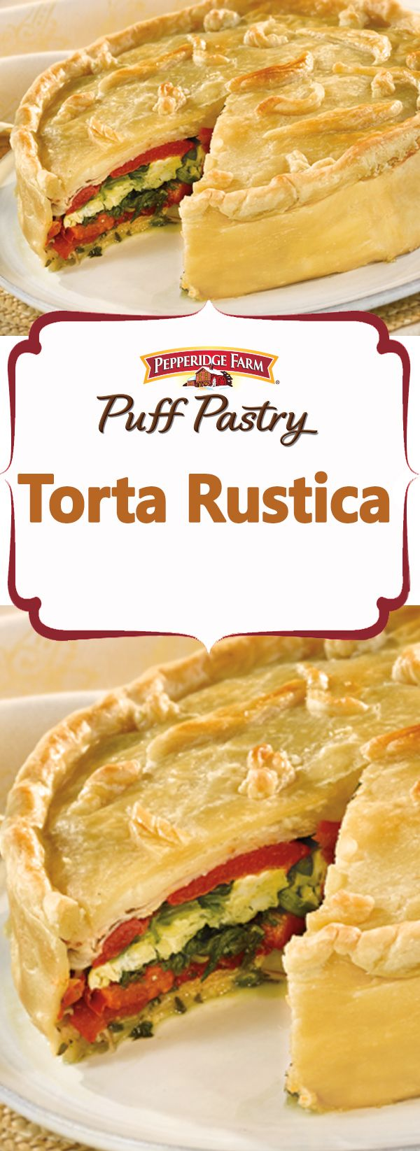 Pepperidge Farm Puff Pastry Torta Rustica Recipe. Served at room temperature, this delectable torta makes a beautiful presentation for a holiday or special meal.  It looks complicated, but takes only 30 minutes to assemble, and you can make it ahead of the party! Your guests will be delighted with the fabulous combination of cheese, egg, meat and vegetables all encased in flaky Puff Pastry.