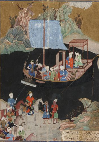 Arts of the Islamic World | Folio from a Khamsa (Quintet) by Amir Khusraw Dihlavi (d. 1325); The abduction by sea | 1496 | Timurid period | Opaque watercolor, ink, and gold on paper | Herat, Afghanistan