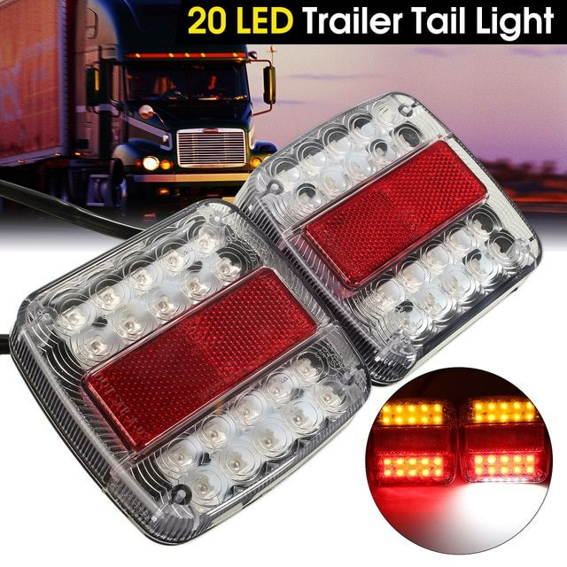 2x 20 Led Car Truck Tail Light Warning Lights Rear Lamps Waterproof Tailligh Rear Turn License Plate Lights F Tail Light Warning Lights Led Trailer Tail Lights