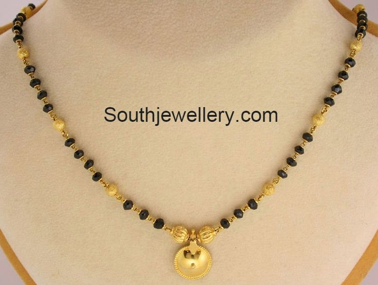 short length black beads mangalsutra - 1 row