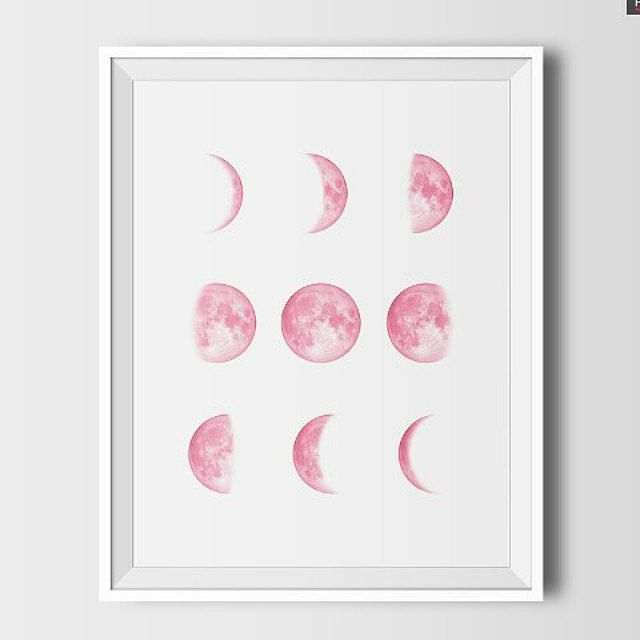 Pink moon moon print printable moon space decor by SargentPaper