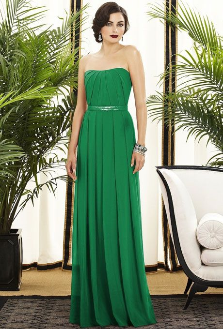 Brides.com: Kelly Green Bridesmaid Dresses. Kelly Green Bridesmaid Dress: Dessy. Dessy lux chiffon bridesmaid dress in shamrock, $260, available at Weddington Way  See more Dessy bridesmaid dresses.