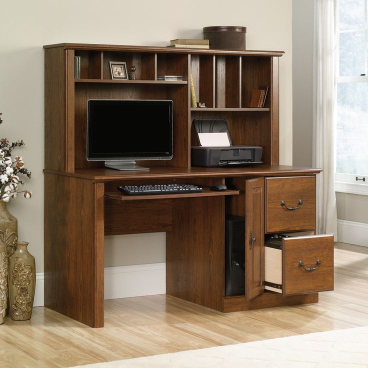 sauder orchard hills milled cherry computer desk with hutch