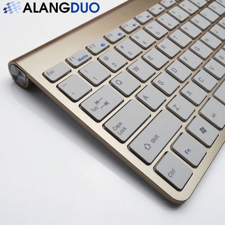 ALANGDUO Nowy 2.4G Ultra Cienka Bezprzewodowa Klawiatura QWERTY 6 kolor Fashion Design for mac Komputera Touchpad Tablet Pc Desktop Laptop w     2.4 GHzUltra Cienka Klawiatura bezprzewodowa 6 kolor Qwerty Touchpad Dla Android TV Box Tablet Pcuniwersalny Dla Win od Keyboards na Aliexpress.com | Grupa Alibaba