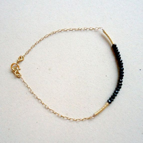 Black Spinel Bracelet Gold Chain Bead Bar Thin by jewelrybycarmal, $32.00