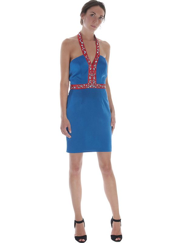 Blue and red Cocktail dress with short skirt for woman by Pastore Couture