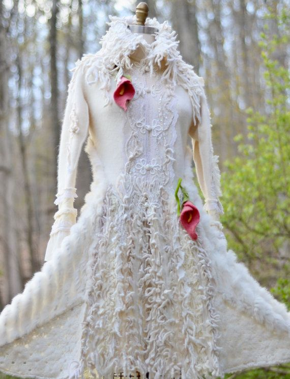White fantasy Wedding sweater COAT with felted by amberstudios