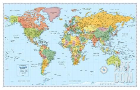 Art.fr - Poster géant 'Rand Mcnally Signature World Map'
