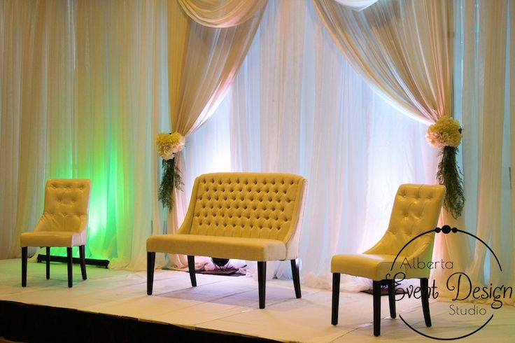 Reception Decor at Winsport Canada Olympic Park - White Fabric Backdrop