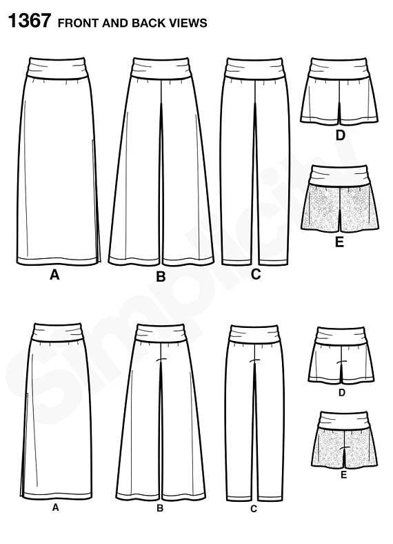 Knit Yoke Pants Pattern  Long Skirt Pattern Wide Leg Pants